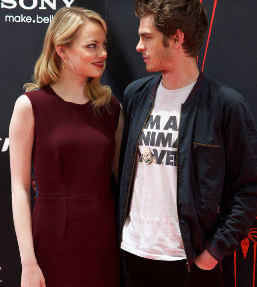 Emma Stone and Andrew Garfield: A red carpet romance: Her turn to wear maroon...