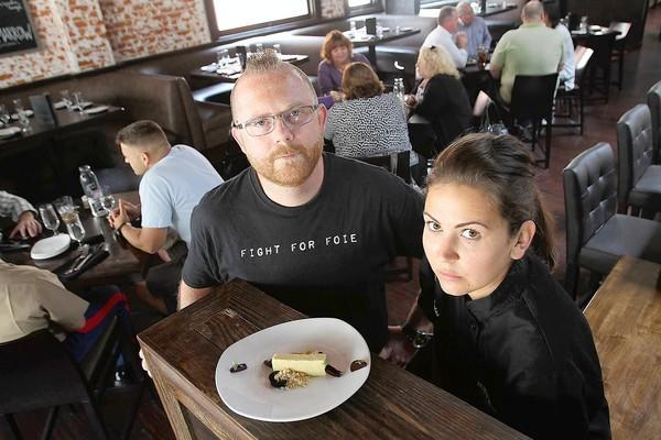 At Haven Gastropub & Brewery in Pasadena, the ban on foie gras in California is forcing executive chef Greg Daniels and pastry chef Santanna Salas to change their menu. The restaurant offers a cheesecake made with foie gras.