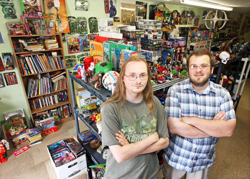 Erik Braley, left, the owner of Flashbax is seen with Dave Washenberger, who runs MTG Heroes.