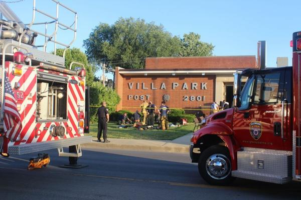 Emergency crews respond to an explosion and fire last month at the Villa Park VFW hall.