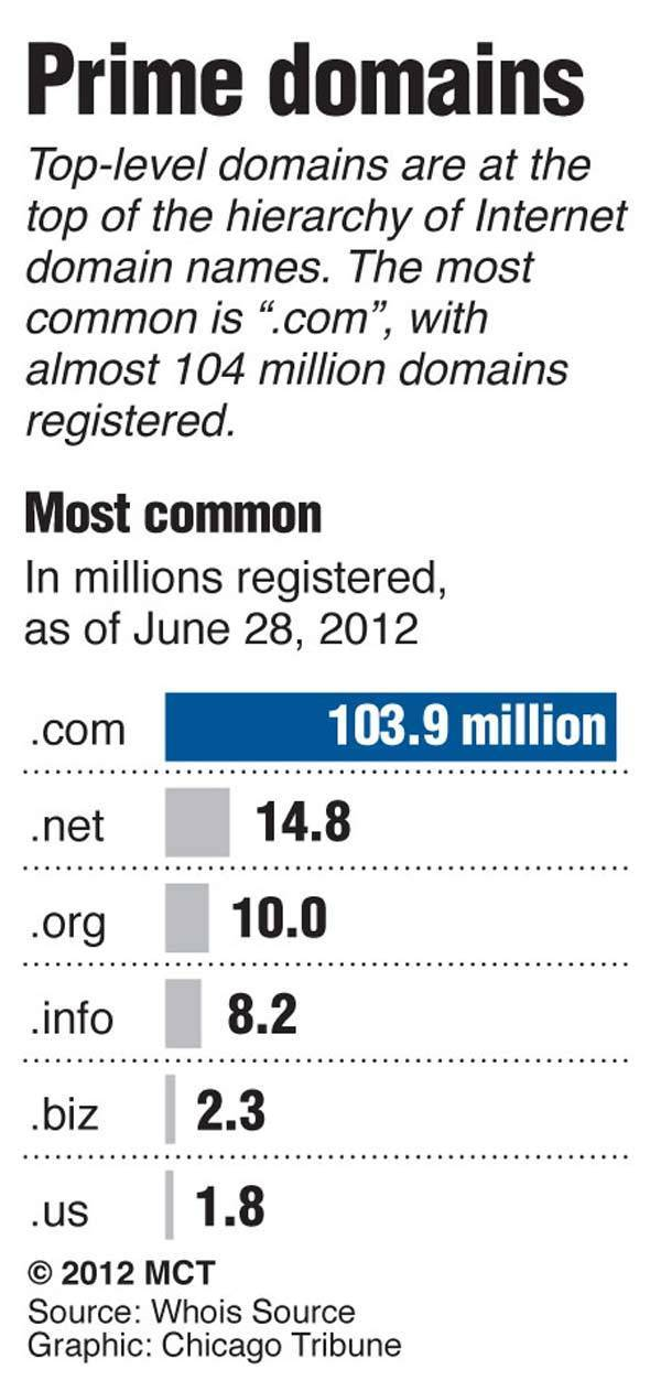"""Chart listing the top Internet domain names in the world; """".com"""" is still the most common, with more than five times as many registered sites as """".net."""""""
