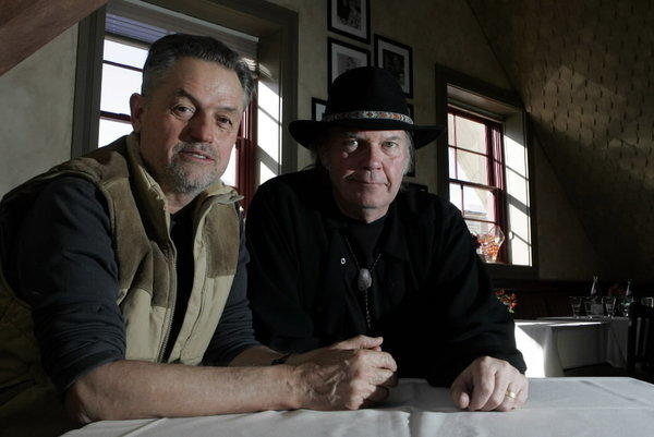 "Neil Young, right, and Jonathan Demme, director of ""Neil Young: Heart of Gold"" are photographed during the Sundance Film Festival in Park City, Utah in 2006."