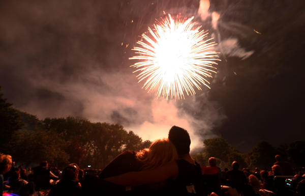 Mike Cervantes and Lacey Ruth watch fireworks in Gilson Park in Wilmette in July 2011.