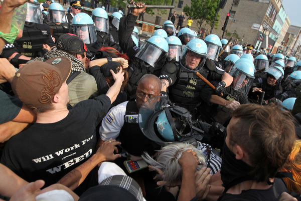 Chicago police and anti-NATO protesters clash at the end of their march in May.