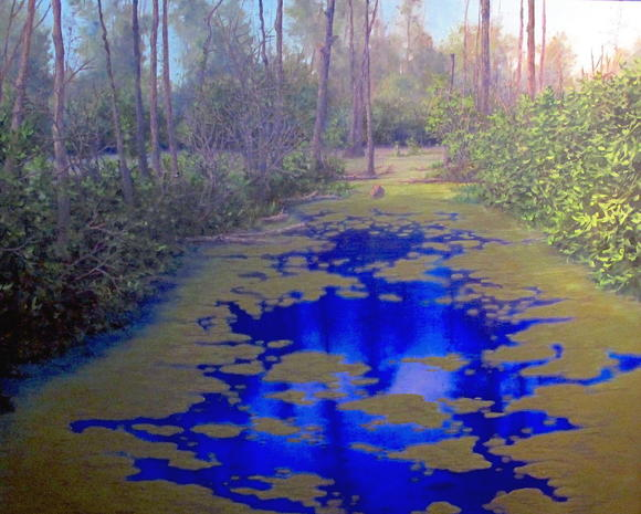 """Algae Lane"" is one of three dozen works on view at This Century Gallery in ""Swamp and Other Wetlands"" by Norfolk artist Ray M. Hershberger."