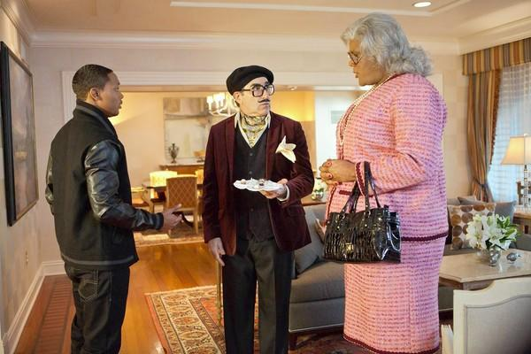 "Tyler Perry, right, as Madea, with Romeo Miller, left, and Eugene Levy in ""Tyler Perry's Madea's Witness Protection."""