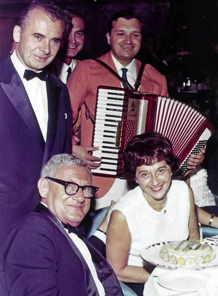 Sara Greenberg, at right, a West Hartford resident, died Dec. 15 at 101. She is with her husband, George, who played trumpet in touring big bands.