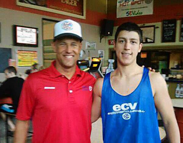 Miles Toth (right), a former volleyball player at Bethlehem Catholic High School, is the current assistant coach and a member of the U.S. Under 21 Beach Volleyball pool roster. At left is Toth's coach Eduardo Bacil.