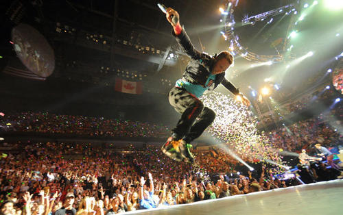 Coldplay performs at the American Airlines Arena in Miami.