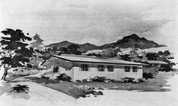 A sketch of Stern Hall, which was built in memory of True Aiken Stern and dedicated at Twelve Oaks in La Crescenta in 1964.