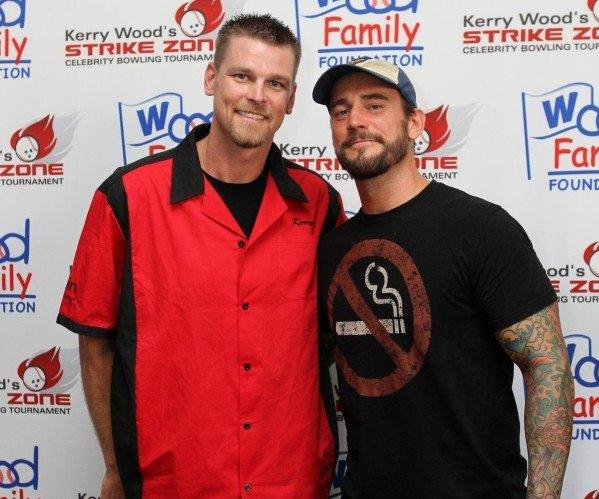 Retired Cub Kerry Wood and WWE Champion CM Punk at Kerry Wood's Strike Zone Celebrity Bowling Tournament June 27, 2012 at 10pin Bowling Lounge.