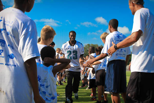 Dominique Rodgers-Cromartie, an American football cornerback for the Philadelphia Eagles of the National Football League attends the Orlando Youth Football Clinic at Thunder Field in Orlando, FLA. on June 30, 2012.