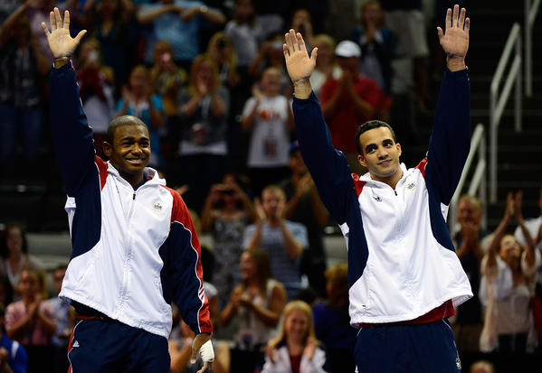 John Orozco and Danell Leyva celebrate after being named to the men's Olympic team.
