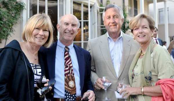 Foothills residents enjoying the reception at Pasadena Arts Council award ceremony held at Descanso Gardens are Kathy MacDonald, from left, Bill Olhasso, Tim MacDonald and Laura Olhasso. Laura is a member of the La Canada Flintridge City Council.