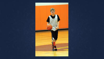 Somersets Moxon Fleegle dribbles up court Saturday in the Somerset Trust Junior High Boys Summer Basketball League.