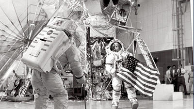 Apollo 14 flight crew during lunar EVA training. On the back of the astronaut sits the large portable life support system (PLSS) Davidsville native Lee Wible Jr., 67, worked on during a portion of his four-decade career in the space program.