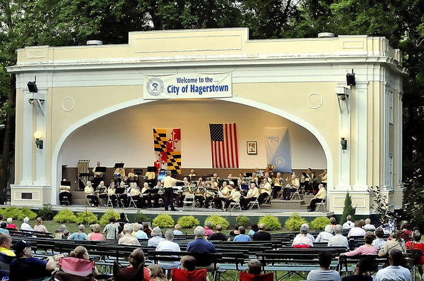 New Horizons Band plays at the Peter Buys Bandshell in City Park Saturday evening.