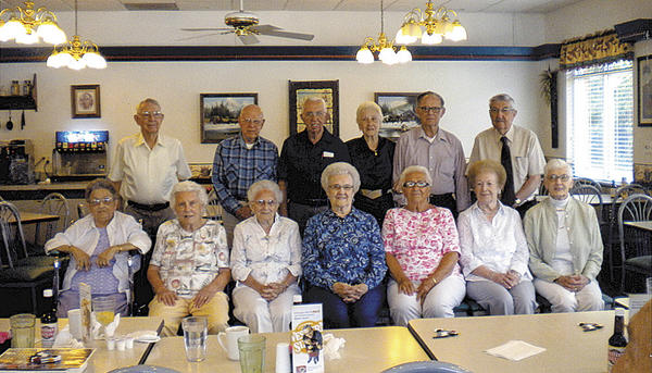 Boonsboro High School Class of 1948 members are, seated, from left, Janice Rice Kline, Geraldine Clark Crilly, Maxine Rohrer Palmer, Aldeth Wade Moore, Peggy Otzelberger Beeler, Lucille Bitner Murray and Anna Higdon Schultz; and standing, Nelson Itnyre, Wayne Mullendore, Gerald Holmes, Nancy Smith Harris, Harold Beachley and Ralph Jamison.