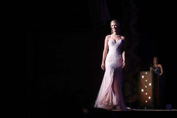 "Top 10 Eveningwear Competition: Miss Greater North Haven Samantha Sojka at the 2012 Miss Connecticut Scholarship Competition at the Garde Arts Center in New London. The theme of the pageant is ""Lights, Camera, Crown!"" and features 24 contestants vying for the title of Miss Connecticut 2012 and the opportunity to represent the state at the Miss America competition."