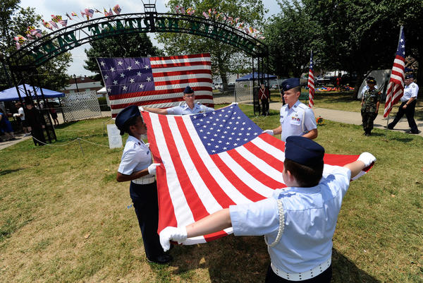 Civil Air Patrol cadets from the Dundalk American Legion Post #38 perform a flag-folding demonstration.