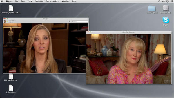 "Web therapist Fiona Wallice (Lisa Kudrow, left) discusses her husband with his therapist, Camilla Bowner (Meryl Streep), in ""Web Therapy."""