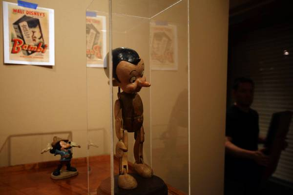An early version of Pinocchio is part of the Disney exhibit.