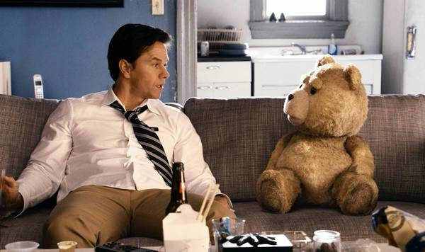 "Mark Wahlberg and his childhood teddy bear in ""Ted."""
