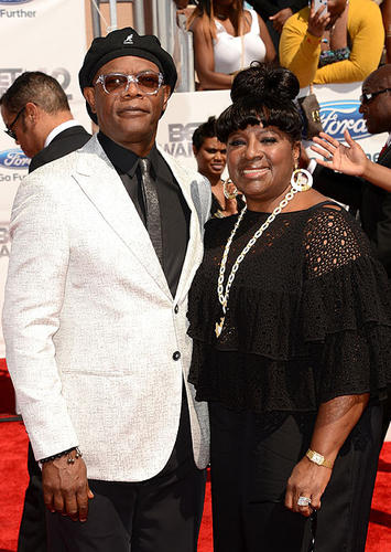 Samuel L. Jackson, host of the 2012 BET Awards, and Latanya Richardson arrive at the 2012 BET Awards at The Shrine Auditorium.