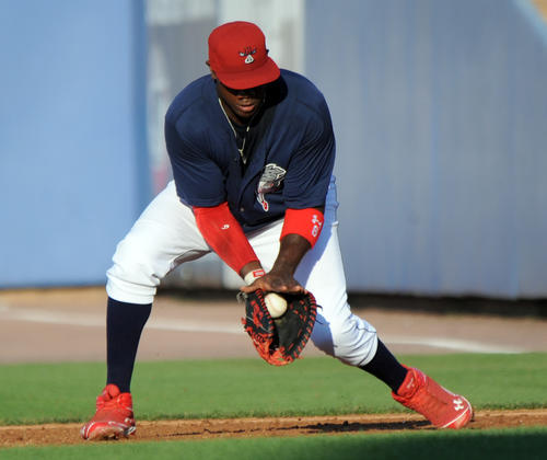Ryan Howard  plays for the IronPigs as they square off against the Pawtucket Red Sox at Coca-Cola Park in Allentown on Sunday.