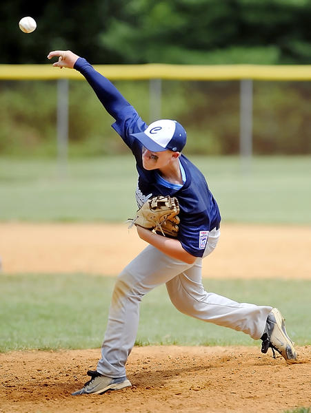 Conococheague's Austin Golden delivers a pitch during Sunday's Maryland District 1 Junior Tournament game.