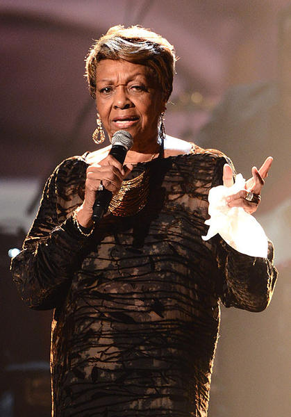 Cissy Houston, the mother of Whitney Houston, sings during the tribute to her late daughter.