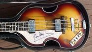 "<span style=""font-size: small;"">A Hofner bass violin guitar signed by Paul McCartney sold for nearly $63,000 at the Nordoff Robbins music therapy charity's annual O2 Silver Clef event and auction on Friday night. In all, the UK event brought in a total of over $392,000 for the charity. Prior to Friday's auction, McCartney stated, ""I am delighted to have signed and donated this very special left-handed Hofner bass in order to raise funds for Nordoff Robbins. The work they do with music therapy transforms the lives of vulnerable children and adults across the UK, and I hope the sale of this guitar raises a lot of money!""</span>"