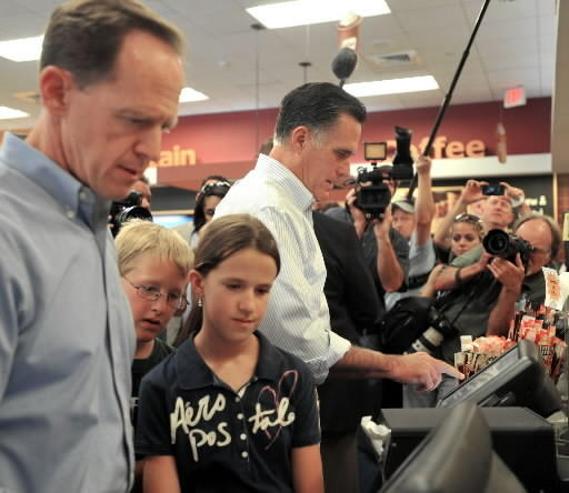 Pat Toomey and Mitt Romney ordering hoagies at Wawa