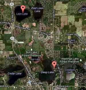 Loon Lake and Deep Lake -- the locations of two recent drownings in Lake County.