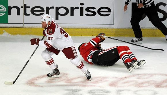 The Coyotes' Raffi Torres skates away after an illegal hit on the Hawks' Marian Hossa during the playoffs last seaso.
