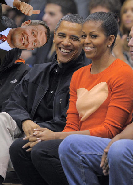 O'Malley is really excited that Barack and Michelle came to Maryland for the Towson basketball game. Really, Really excited...