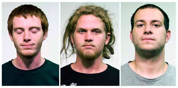 Brian Church (L), 20, Brent Vincent Betterly (C), 24 and Jared Chase, 27, are seen in these handout photos from the Chicago Police department.