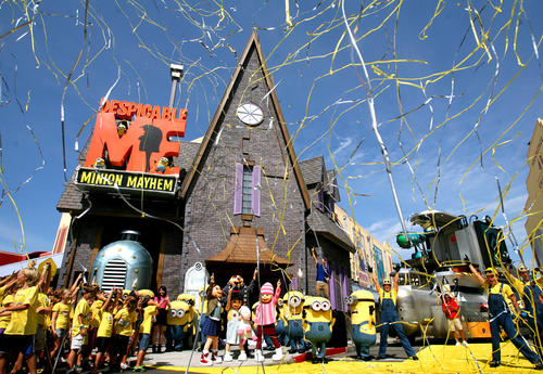 Scenes from the grand opening ceremony of the Despicable Me Minion Mayhem attraction at Universal Studios Orlando, Monday, July 2, 2012.