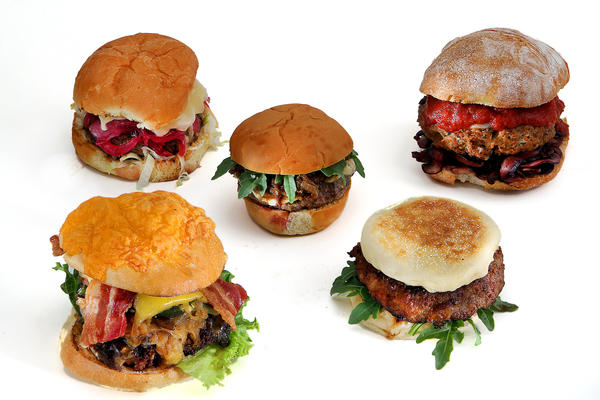 The top five are, from left, the H-Bomb, the Howie burger, the Buffalo Cambozola burger, the BLT&E and the Taste of Italy turkey burger.