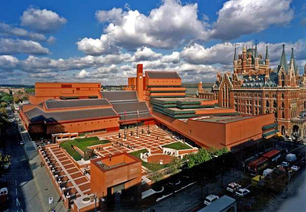 The British Library has a permanent free exhibition of its treasures, which include a copy of the Magna Carta as well as Jane Austen's tiny writing desk. Right in the heart of the library is a six-sto