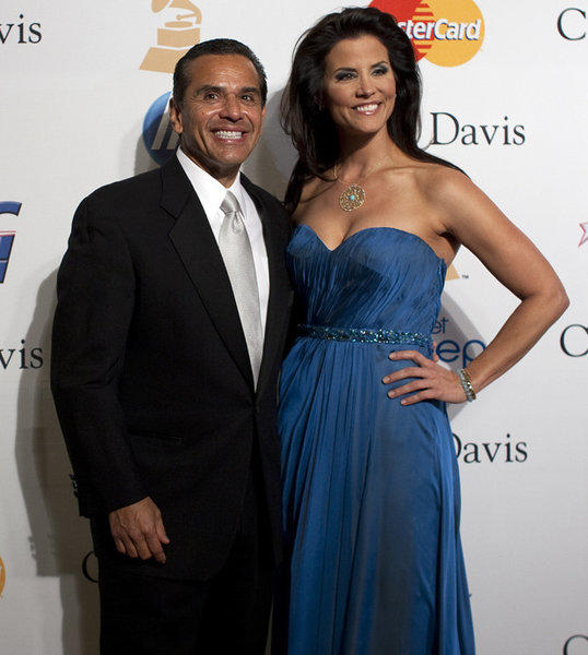 Los Angeles Mayor Antonio Villaraigosa and Lu Parker arrive at the 2011 Clive Davis Pre-Grammy Gala and Salute to Industry Icons Honoring David Geffen at the Beverly Hilton.