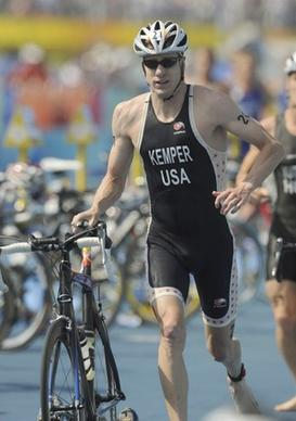 Hunter Kemper of the United States moves into the transition zone during the triathlon in the Games of the XXIX Olympiad in Beijing, China.