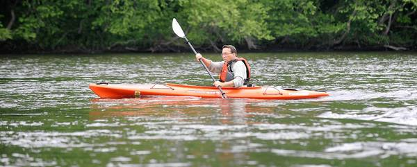 Larry Rafes of Laurys Station practises for his kayak trip down the Lehigh River to the Atlantic Ocean by paddling in the Lehigh near his home. He is trying to raise organ donation awareness since he had a kidney transplant