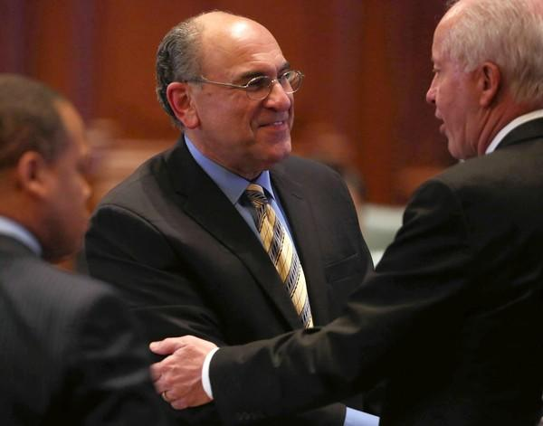 State Rep. Lou Lang, center, the gambling bill's House sponsor, said there have been no talks with the governor's office about specific changes that Gov. Pat Quinn would like to see.