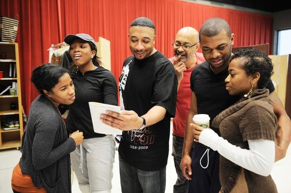 """(Left to Right) Melanie Brezill, Marketta P. Wilder, David Jennings, Fred Carl, Kelvin Roston and Alexis Rogers on rehearsal break for Regina Tayloras 10th anniversary production of """"Crowns"""" at Goodman Theatre."""