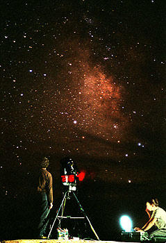 Scientists documenting the Milky Way.