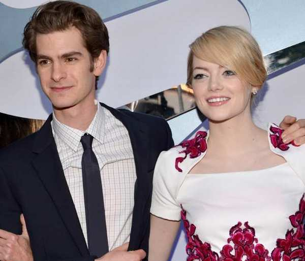 "Actors Andrew Garfield and Emma Stone arrive at the premiere of Columbia Pictures' ""The Amazing Spider-Man"" at the Regency Village Theatre."