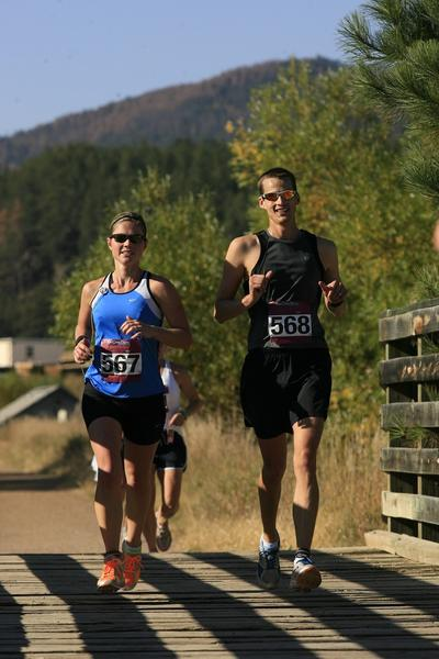 Kristin and Mike Kiss of Palatine running the Run Crazy Horse Half Marathon in Hill City, South Dakota.