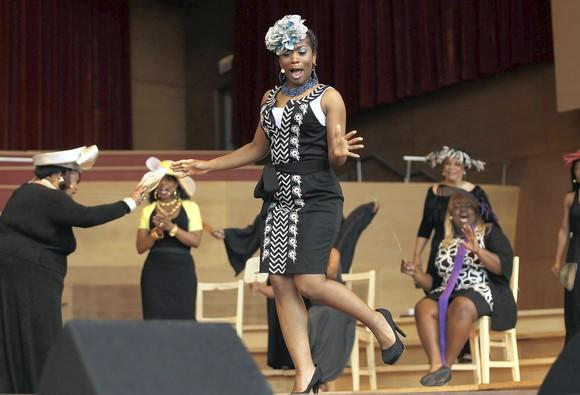 "Alexis Rogers performs for a preview of the musical ""Crowns"" during opening night of Chicago Gospel Music Festival at Millennium Park."