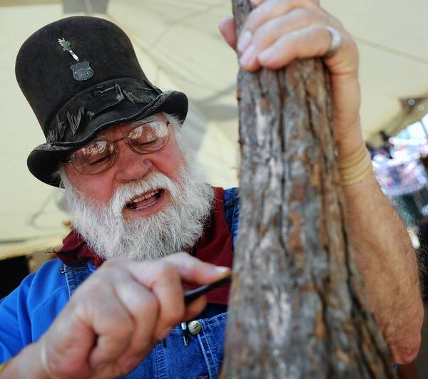 Self taught woodcarver Bob Evans, 79, of Virginia has been one of the crafters selling their wares for 30 years at the Kutztown Folk Festival.